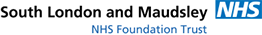 South London and Maudsley NHS Foundation Trust logo.